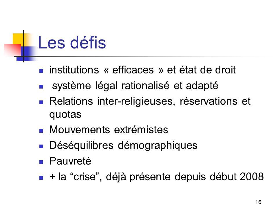 16 Les défis institutions « efficaces » et état de droit système légal rationalisé et adapté Relations inter-religieuses, réservations et quotas Mouve