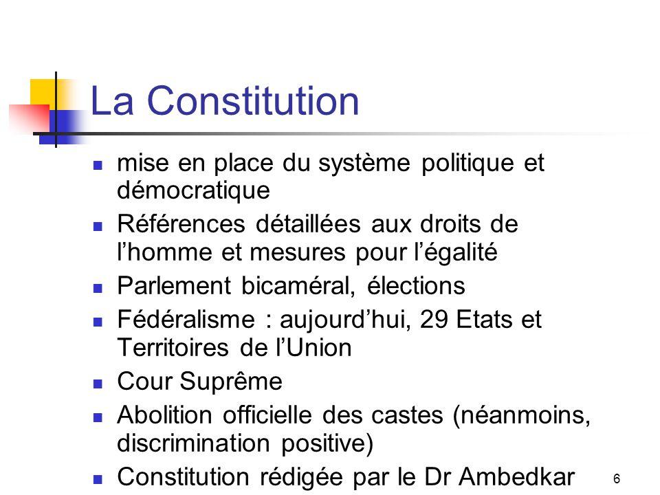 6 La Constitution mise en place du système politique et démocratique Références détaillées aux droits de lhomme et mesures pour légalité Parlement bic