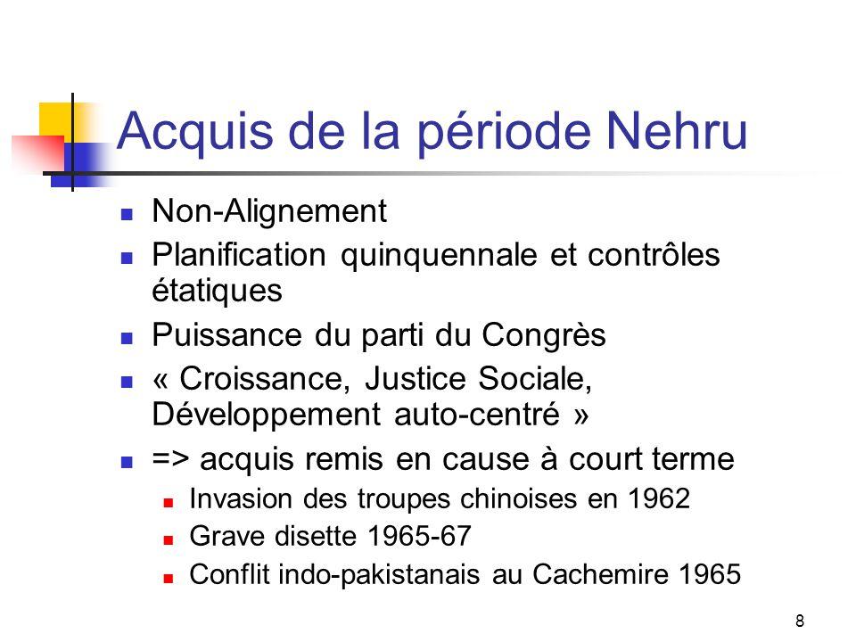8 Acquis de la période Nehru Non-Alignement Planification quinquennale et contrôles étatiques Puissance du parti du Congrès « Croissance, Justice Soci
