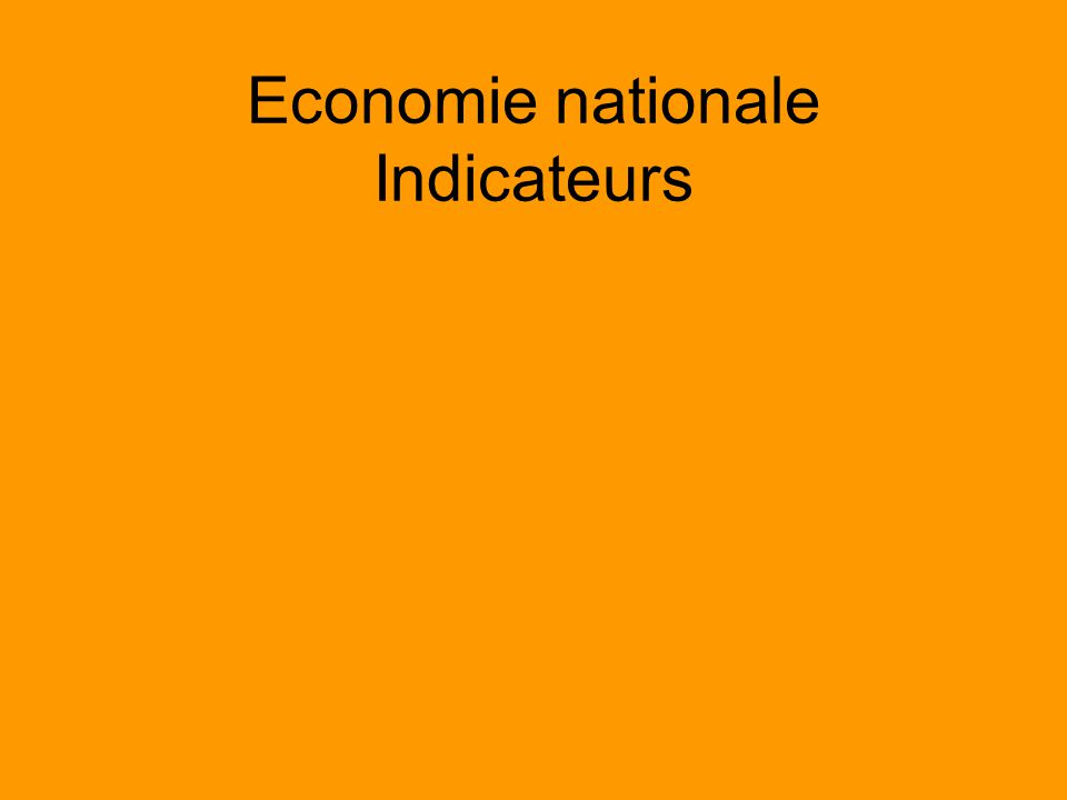 Economie nationale Indicateurs
