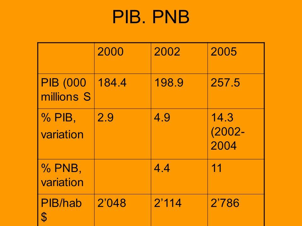 PIB. PNB 200020022005 PIB (000 millions S 184.4198.9257.5 % PIB, variation 2.94.914.3 (2002- 2004 % PNB, variation 4.411 PIB/hab $ 204821142786