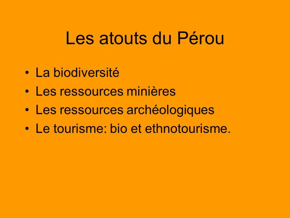 Les atouts du Pérou La biodiversité Les ressources minières Les ressources archéologiques Le tourisme: bio et ethnotourisme.
