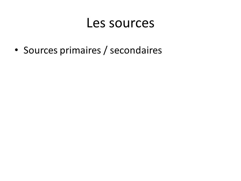 Sources primaires / secondaires
