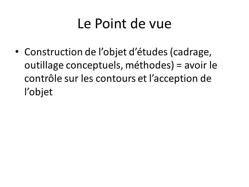 Construction de lobjet détudes (cadrage, outillage conceptuels, méthodes) = avoir le contrôle sur les contours et lacception de lobjet