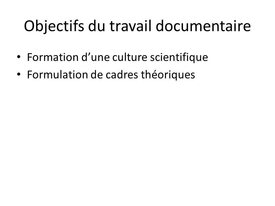 Objectifs du travail documentaire Formation dune culture scientifique Formulation de cadres théoriques Comparaisons des techniques denquête