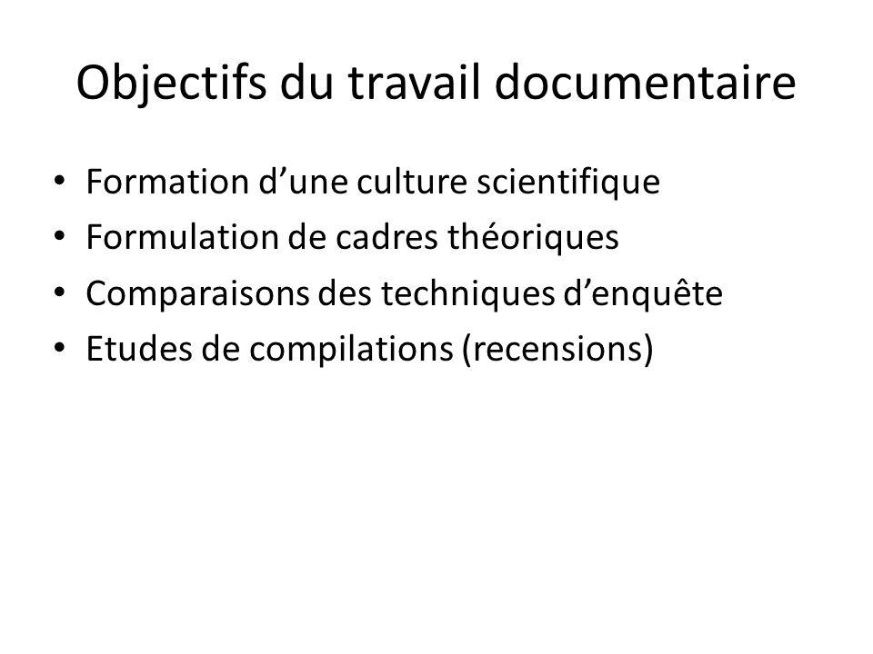 Objectifs du travail documentaire Formation dune culture scientifique Formulation de cadres théoriques Comparaisons des techniques denquête Etudes de compilations (recensions) Matériel principal de la recherche (sources) ou complémentaire