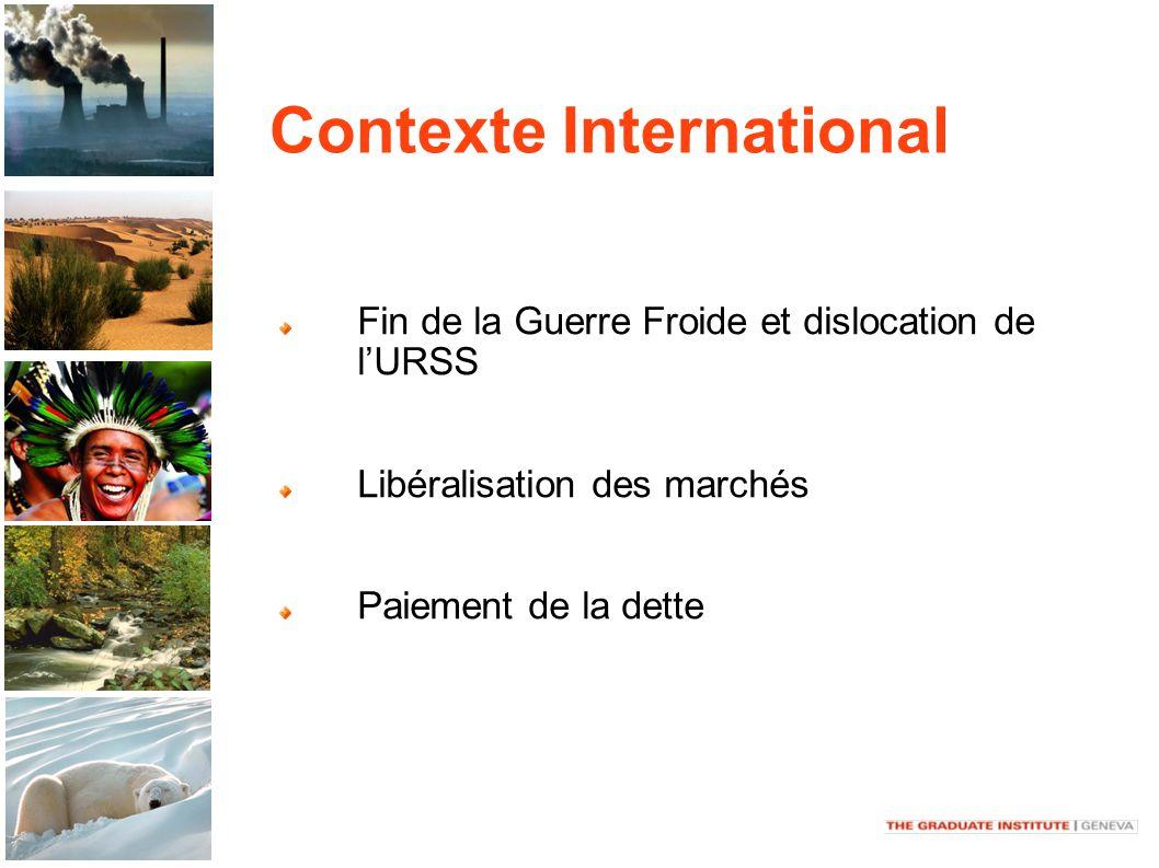 Contexte International Fin de la Guerre Froide et dislocation de lURSS Libéralisation des marchés Paiement de la dette