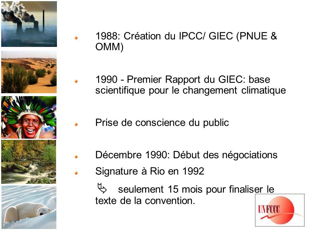 1988: Création du IPCC/ GIEC (PNUE & OMM) 1990 - Premier Rapport du GIEC: base scientifique pour le changement climatique Prise de conscience du public Décembre 1990: Début des négociations Signature à Rio en 1992 seulement 15 mois pour finaliser le texte de la convention.
