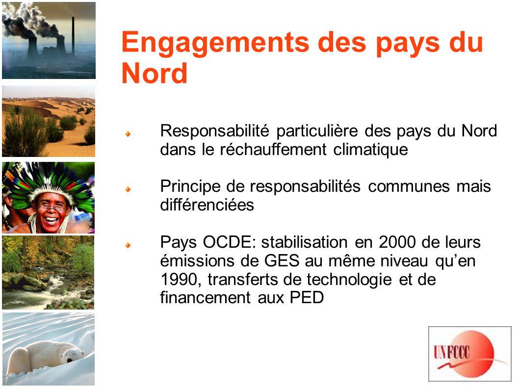 Engagements des pays du Nord Responsabilité particulière des pays du Nord dans le réchauffement climatique Principe de responsabilités communes mais différenciées Pays OCDE: stabilisation en 2000 de leurs émissions de GES au même niveau quen 1990, transferts de technologie et de financement aux PED