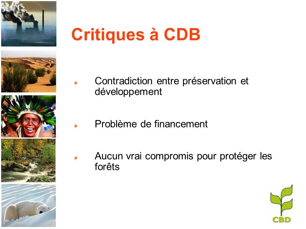 Critiques à CDB Contradiction entre préservation et développement Problème de financement Aucun vrai compromis pour protéger les forêts