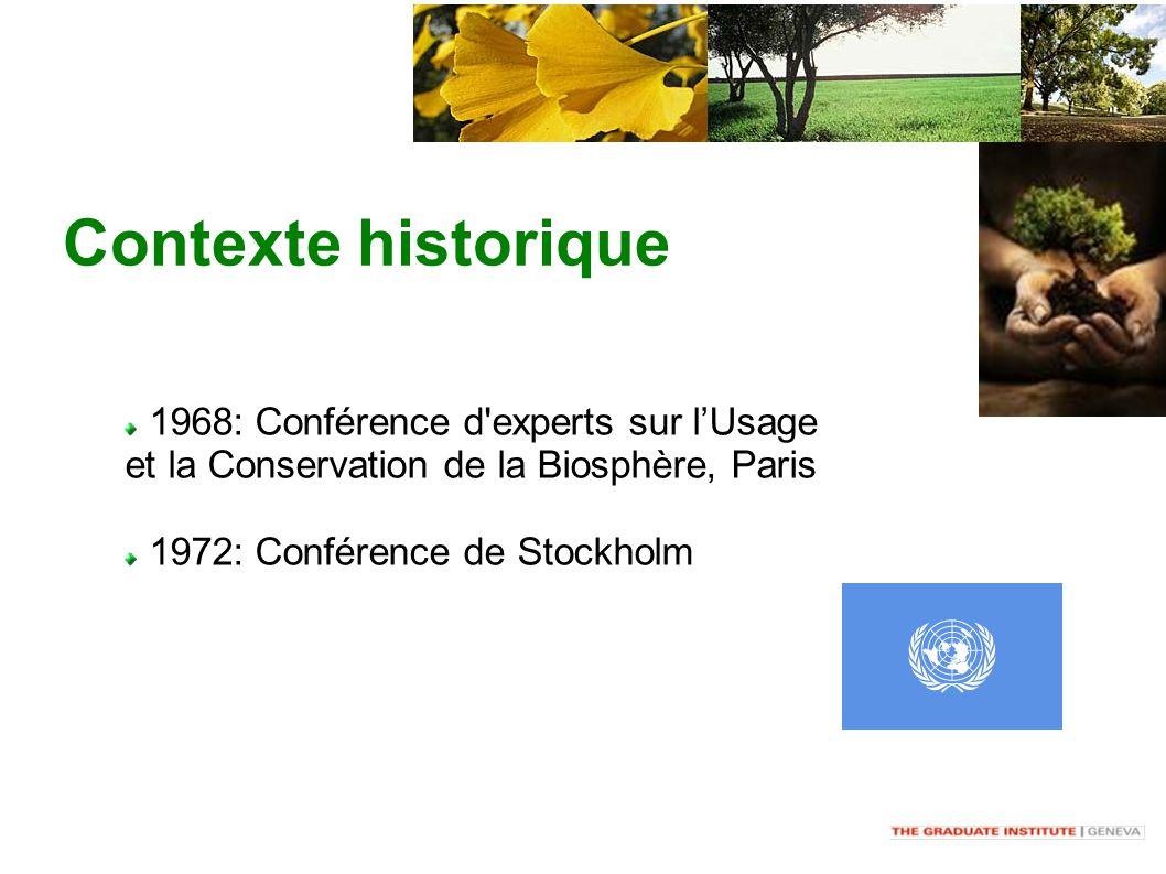 Contexte historique 1968: Conférence d experts sur lUsage et la Conservation de la Biosphère, Paris 1972: Conférence de Stockholm