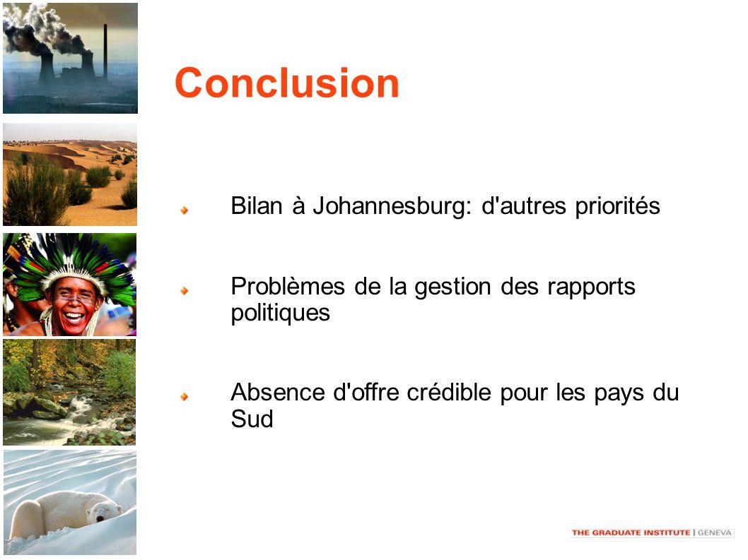 Conclusion Bilan à Johannesburg: d autres priorités Problèmes de la gestion des rapports politiques Absence d offre crédible pour les pays du Sud
