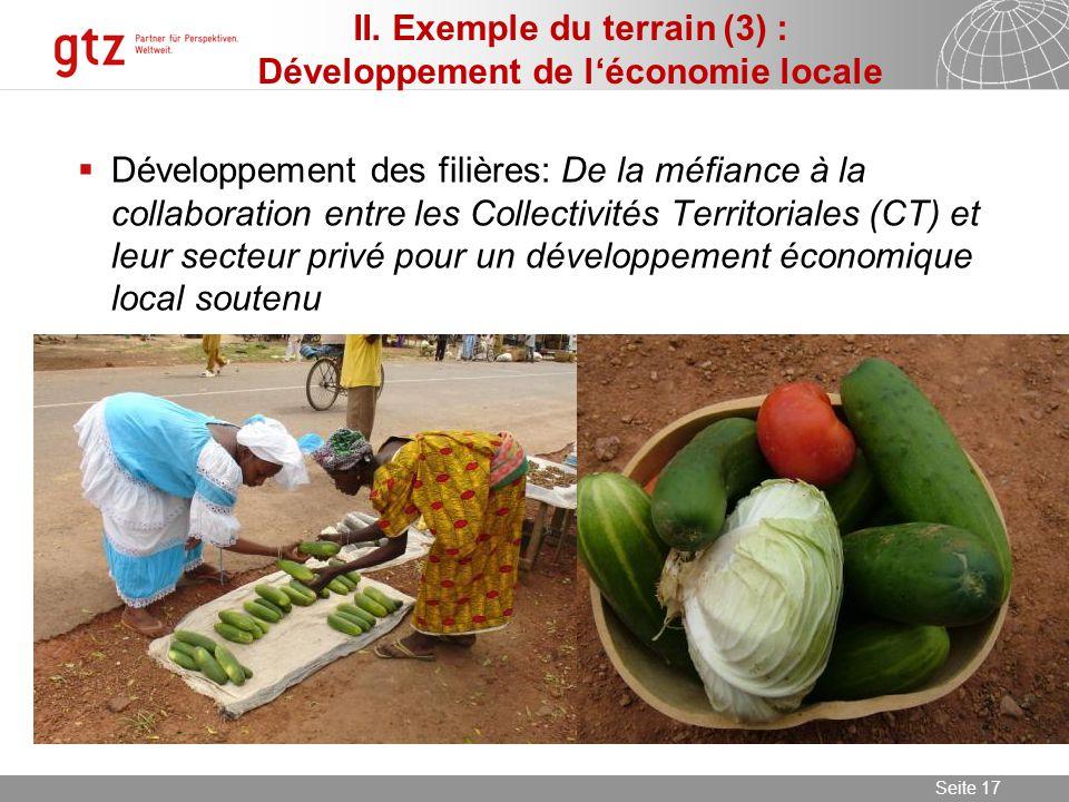 09.06.2014 Seite 17 Seite 17 Développement des filières: De la méfiance à la collaboration entre les Collectivités Territoriales (CT) et leur secteur privé pour un développement économique local soutenu II.