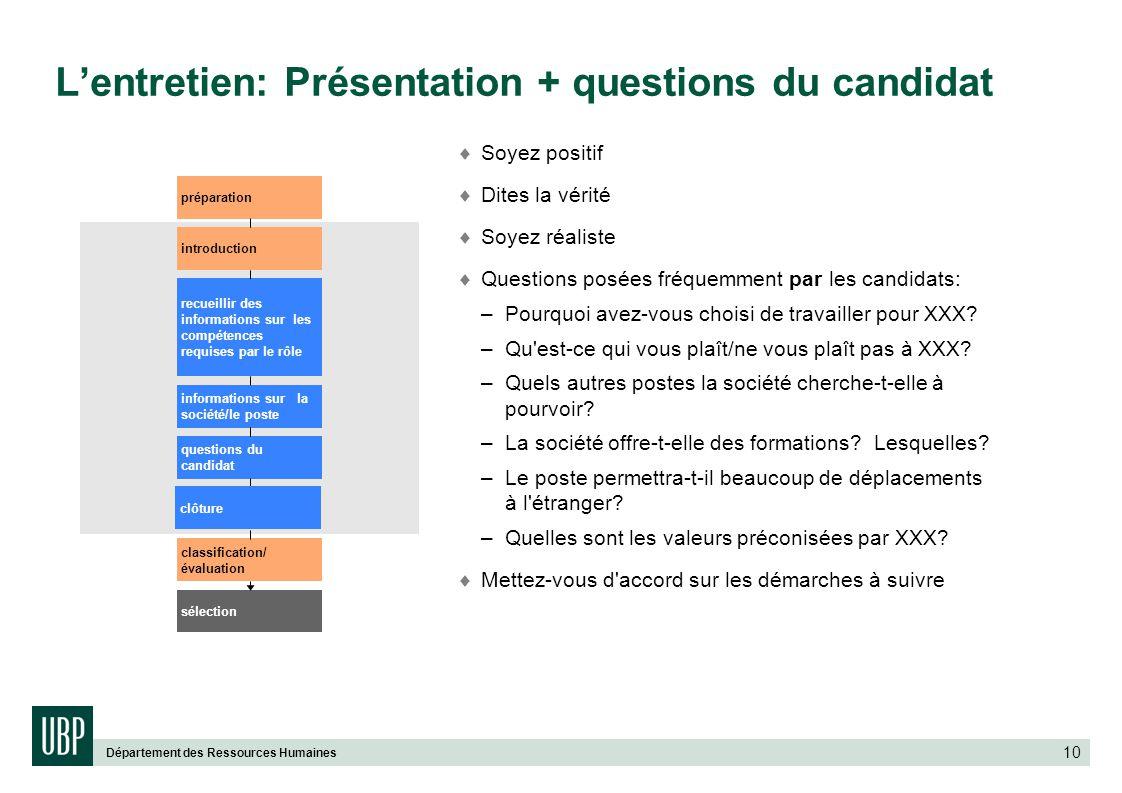 Département des Ressources Humaines 10 Soyez positif Dites la vérité Soyez réaliste Questions posées fréquemment par les candidats: – Pourquoi avez-vo