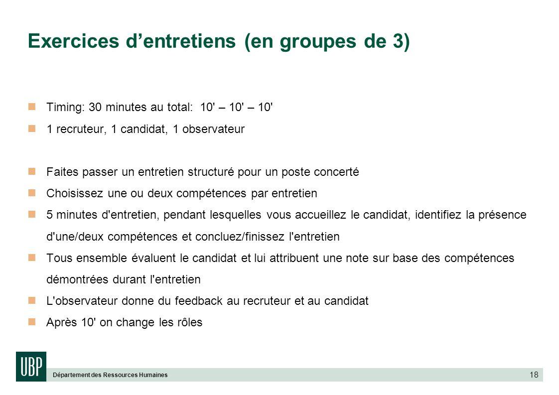 Département des Ressources Humaines 18 Exercices dentretiens (en groupes de 3) Timing: 30 minutes au total: 10' – 10' – 10' 1 recruteur, 1 candidat, 1