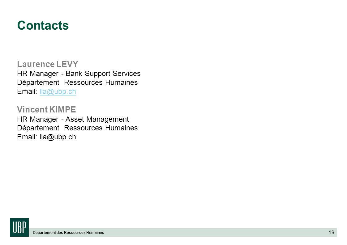 Département des Ressources Humaines 19 Contacts Laurence LEVY HR Manager - Bank Support Services Département Ressources Humaines Email: lla@ubp.chlla@