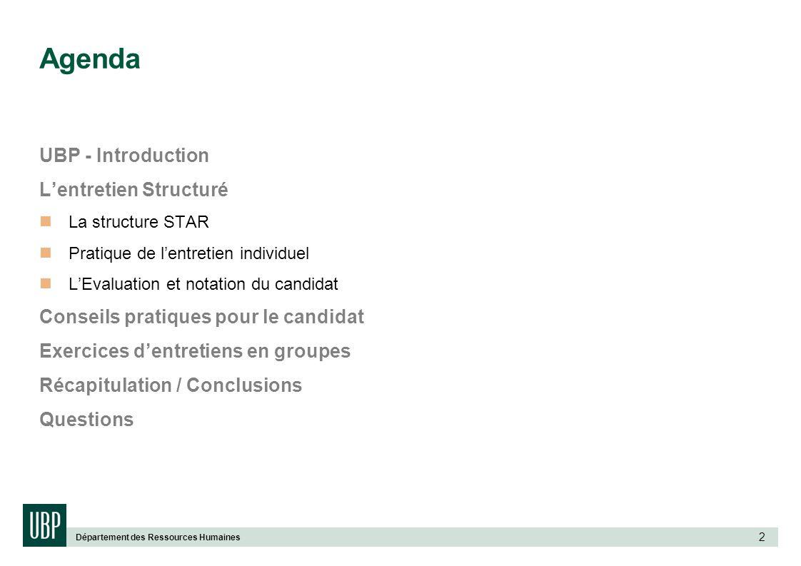 Département des Ressources Humaines 2 Agenda UBP - Introduction Lentretien Structuré La structure STAR Pratique de lentretien individuel LEvaluation e