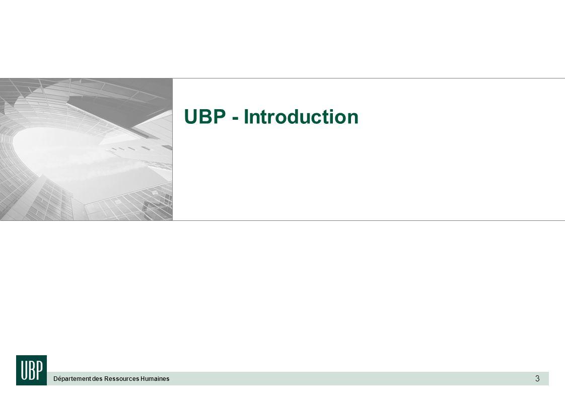 Département des Ressources Humaines 3 UBP - Introduction