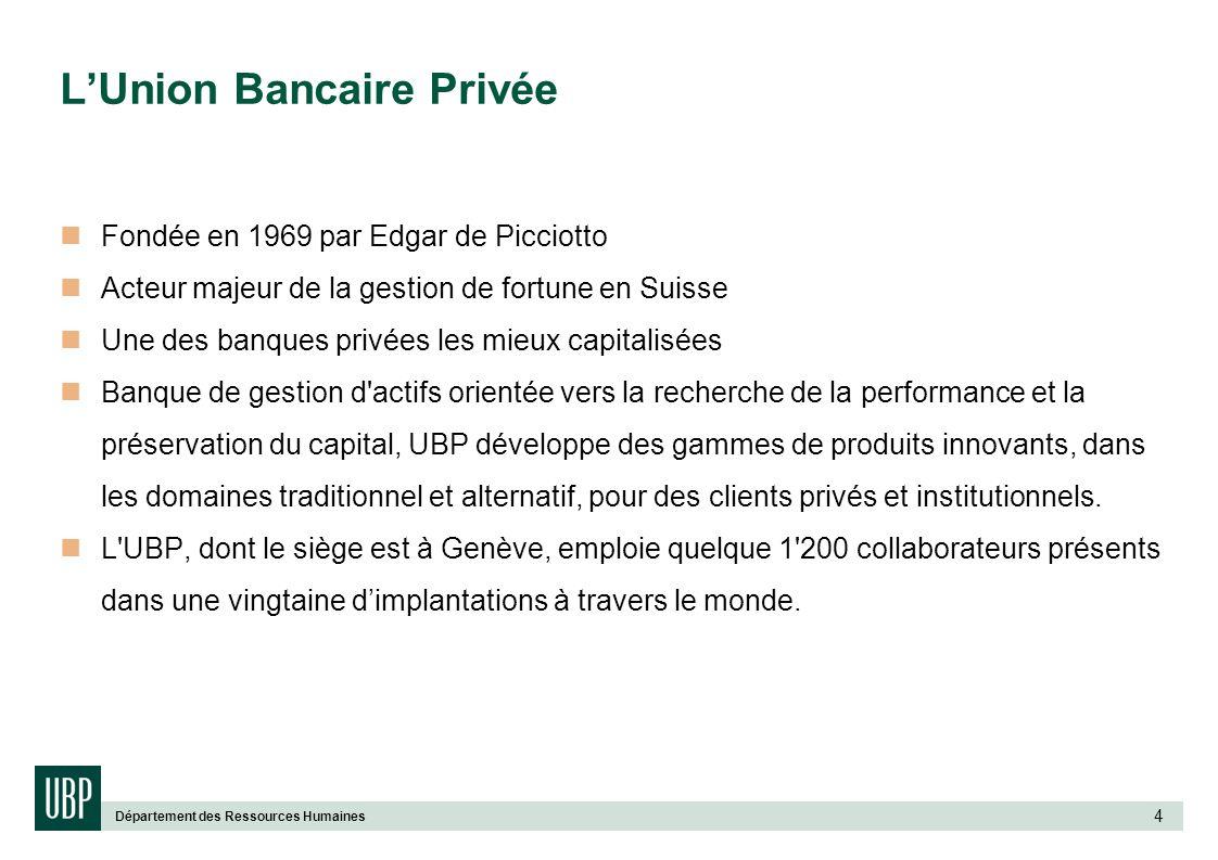 Département des Ressources Humaines 4 LUnion Bancaire Privée Fondée en 1969 par Edgar de Picciotto Acteur majeur de la gestion de fortune en Suisse Un