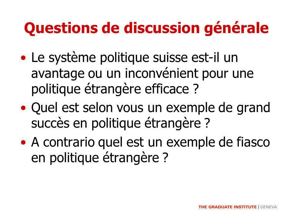 Questions de discussion générale Le système politique suisse est-il un avantage ou un inconvénient pour une politique étrangère efficace ? Quel est se