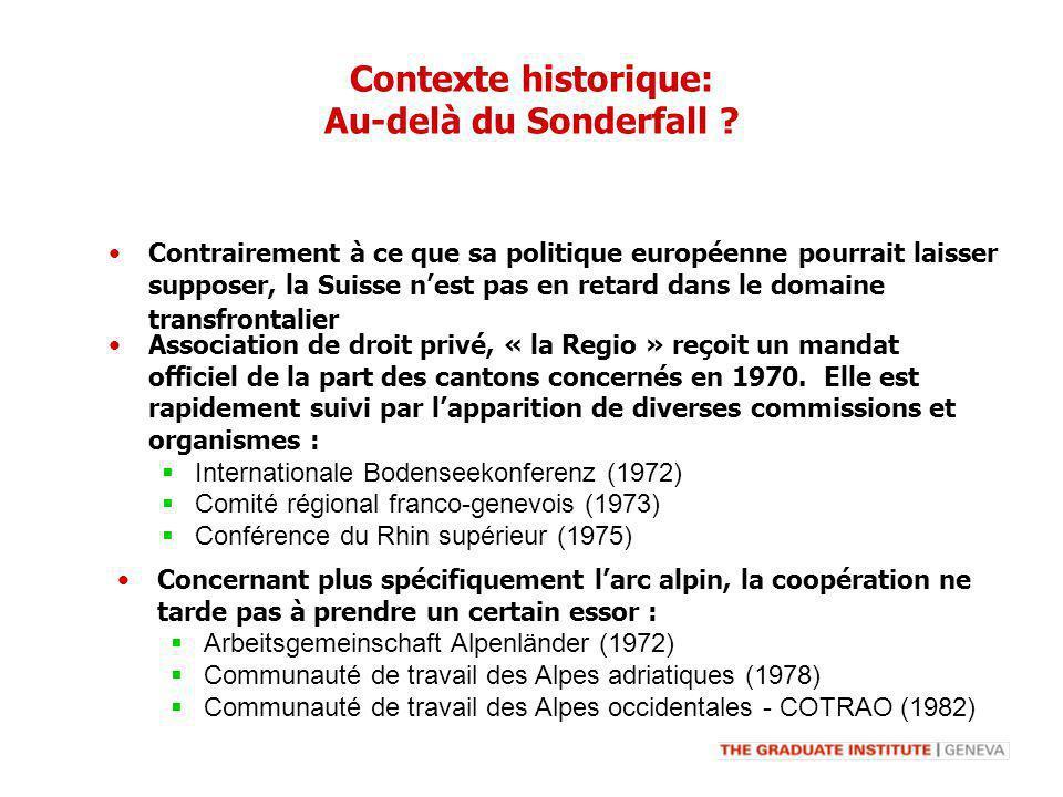 Contexte historique: Au-delà du Sonderfall ? Association de droit privé, « la Regio » reçoit un mandat officiel de la part des cantons concernés en 19