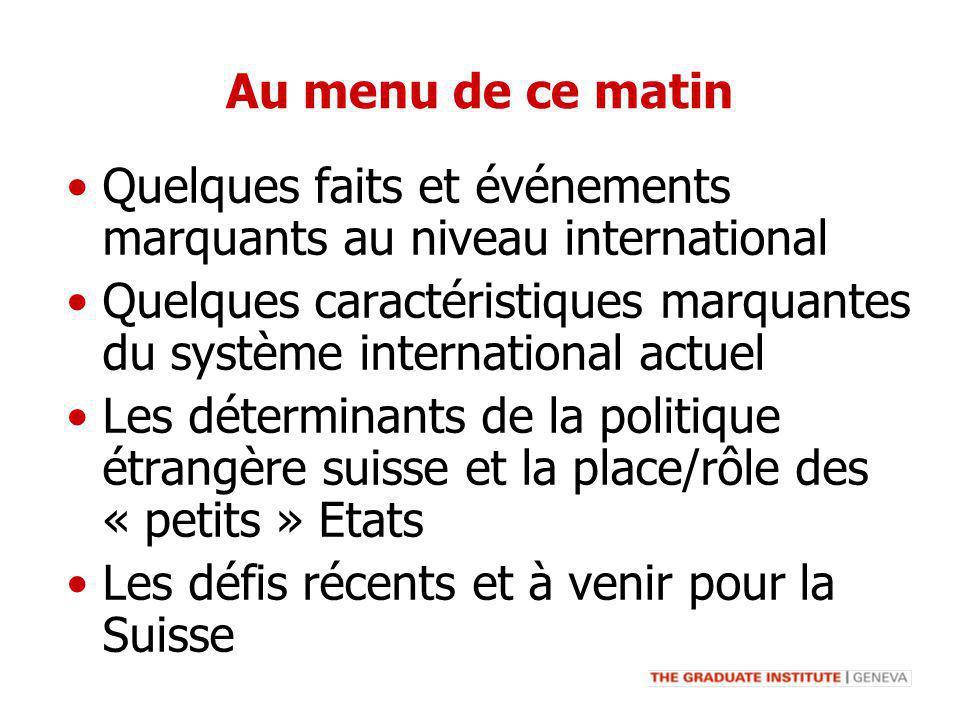 Au menu de ce matin Quelques faits et événements marquants au niveau international Quelques caractéristiques marquantes du système international actue