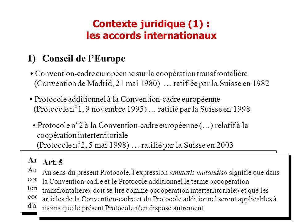 1)Conseil de lEurope Convention-cadre européenne sur la coopération transfrontalière (Convention de Madrid, 21 mai 1980) … ratifiée par la Suisse en 1