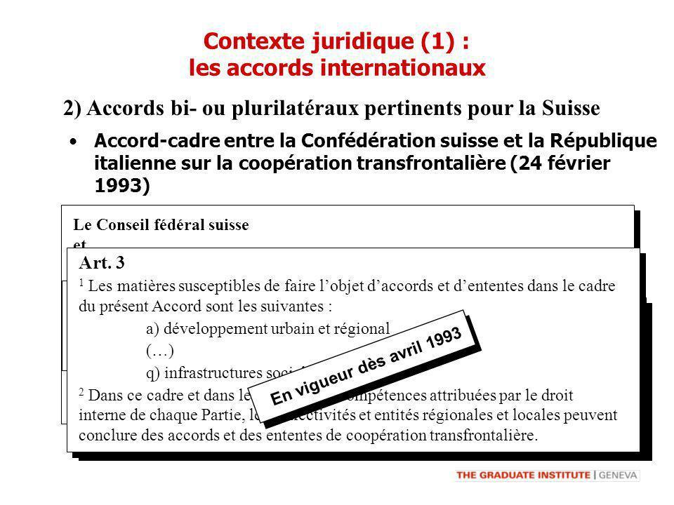 Contexte juridique (1) : les accords internationaux 2) Accords bi- ou plurilatéraux pertinents pour la Suisse Le Conseil fédéral suisse et le Gouverne