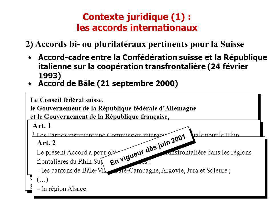Contexte juridique (1) : les accords internationaux 2) Accords bi- ou plurilatéraux pertinents pour la Suisse Le Conseil fédéral suisse, le Gouverneme