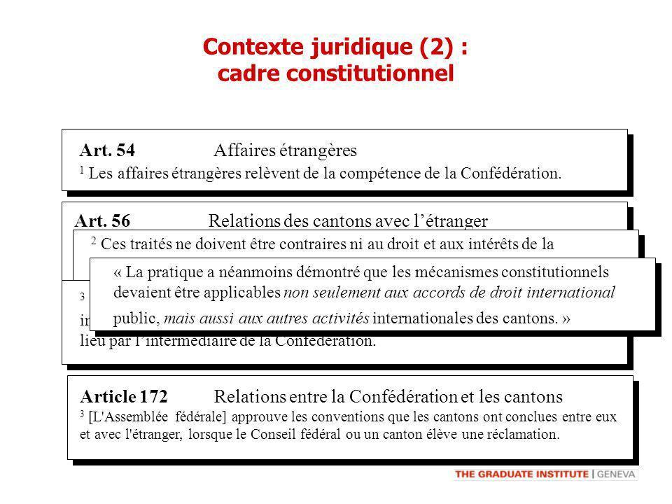 Art. 54 Affaires étrangères 1 Les affaires étrangères relèvent de la compétence de la Confédération. Art. 56 Relations des cantons avec létranger 1 Le
