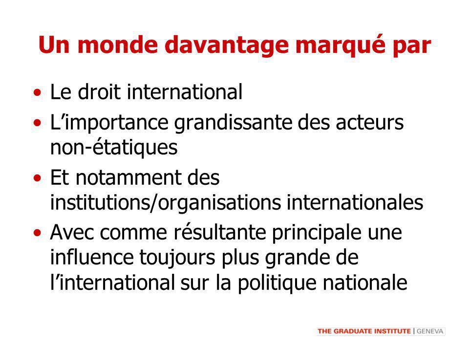 Un monde davantage marqué par Le droit international Limportance grandissante des acteurs non-étatiques Et notamment des institutions/organisations in