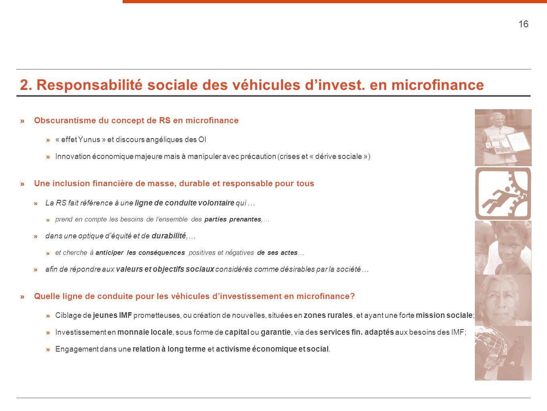 2. Responsabilité sociale des véhicules dinvest. en microfinance » Obscurantisme du concept de RS en microfinance » « effet Yunus » et discours angéli