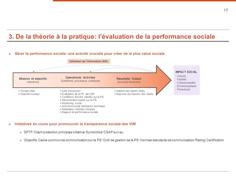 3. De la théorie à la pratique: lévaluation de la performance sociale 17 » Gérer la performance sociale: une activité cruciale pour créer de la plus v
