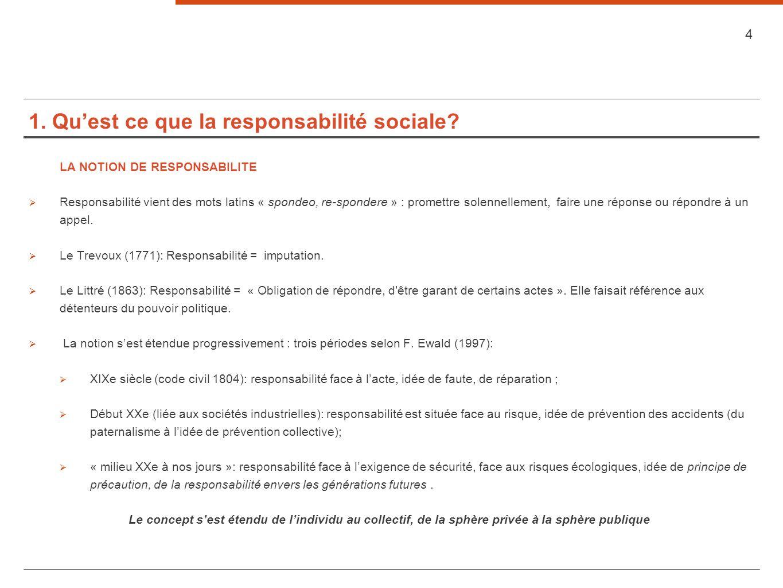 1. Quest ce que la responsabilité sociale? LA NOTION DE RESPONSABILITE Responsabilité vient des mots latins « spondeo, re-spondere » : promettre solen