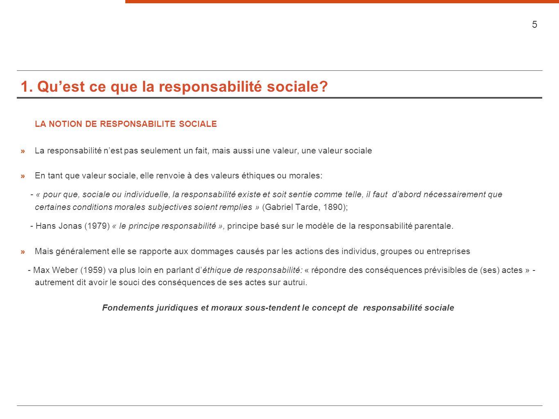 1. Quest ce que la responsabilité sociale? LA NOTION DE RESPONSABILITE SOCIALE » La responsabilité nest pas seulement un fait, mais aussi une valeur,