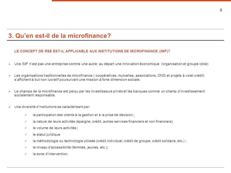 3. Quen est-il de la microfinance? LE CONCEPT DE RSE EST-IL APPLICABLE AUX INSTITUTIONS DE MICROFINANCE (IMF)? Une IMF nest pas une entreprise comme u