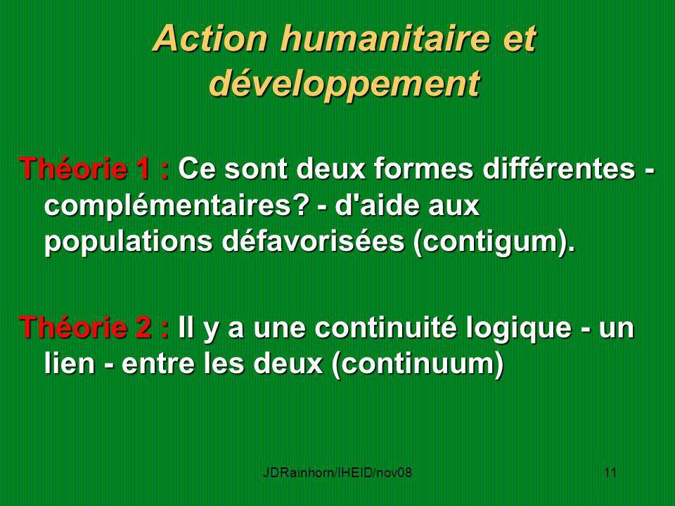 JDRainhorn/IHEID/nov0811 Action humanitaire et développement Théorie 1 : Ce sont deux formes différentes - complémentaires? - d'aide aux populations d