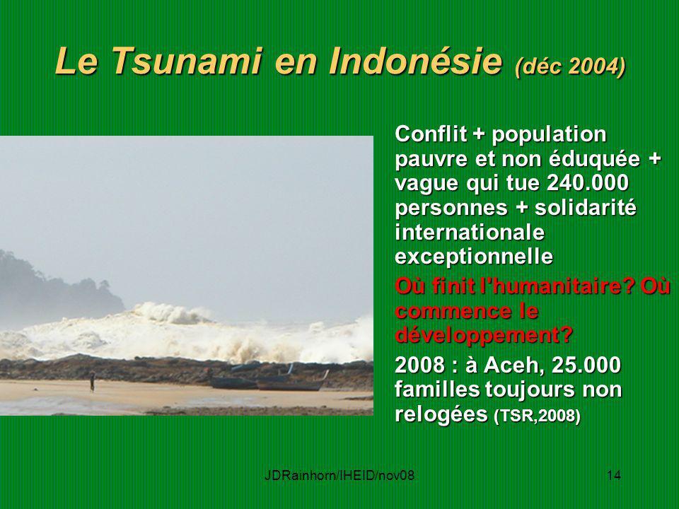 JDRainhorn/IHEID/nov0814 Le Tsunami en Indonésie (déc 2004) Conflit + population pauvre et non éduquée + vague qui tue 240.000 personnes + solidarité