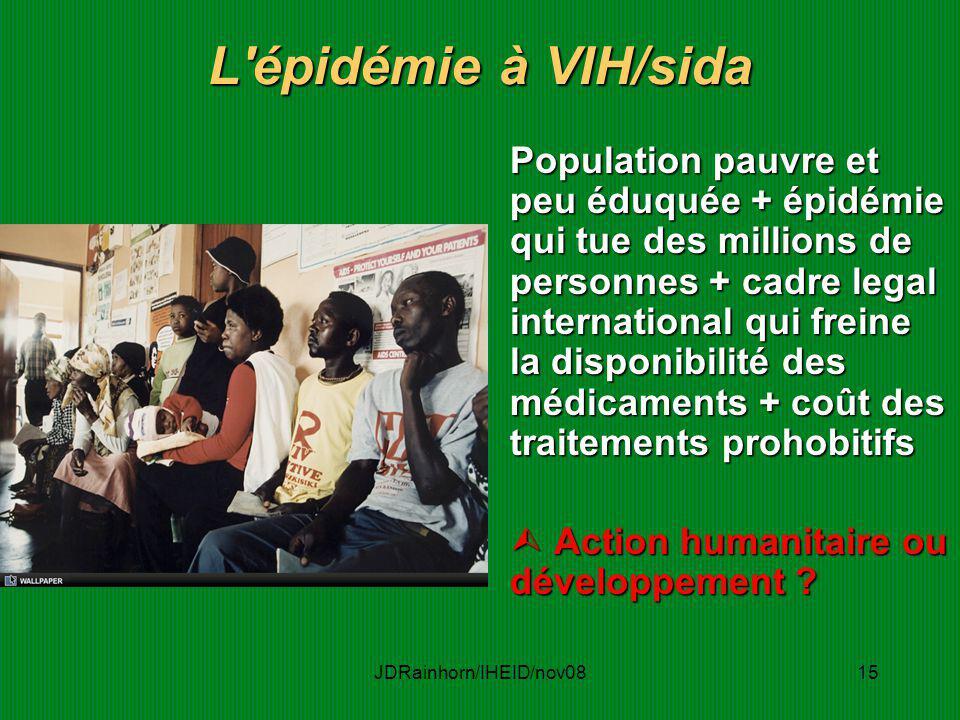 JDRainhorn/IHEID/nov0815 L'épidémie à VIH/sida Population pauvre et peu éduquée + épidémie qui tue des millions de personnes + cadre legal internation