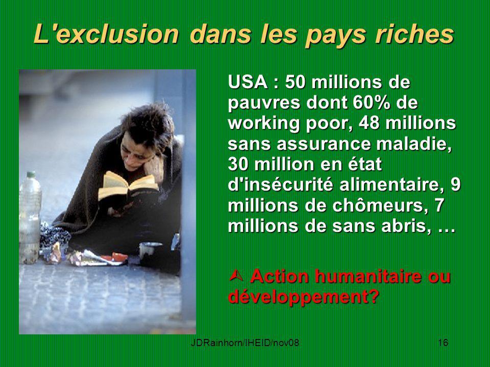 JDRainhorn/IHEID/nov0816 L'exclusion dans les pays riches USA : 50 millions de pauvres dont 60% de working poor, 48 millions sans assurance maladie, 3
