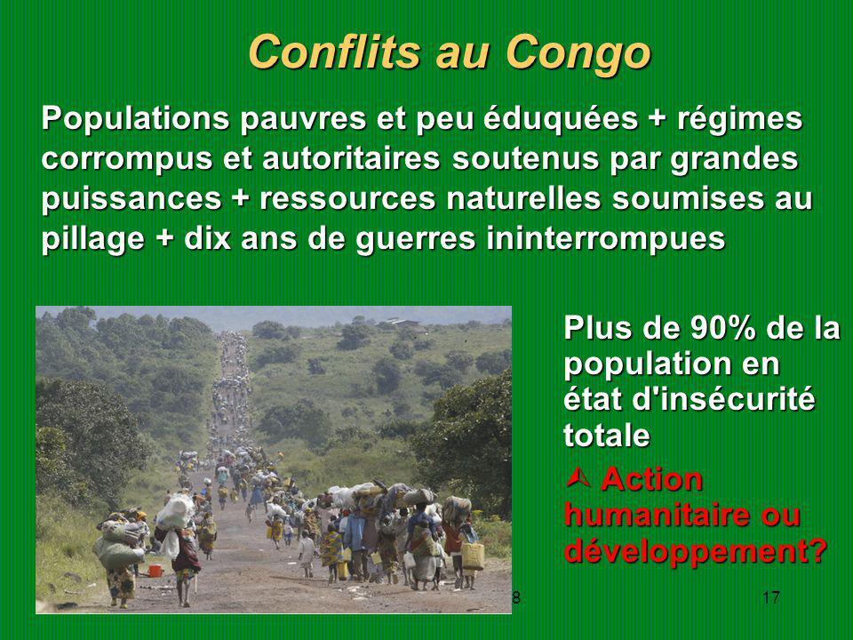 JDRainhorn/IHEID/nov0817 Conflits au Congo Populations pauvres et peu éduquées + régimes corrompus et autoritaires soutenus par grandes puissances + r