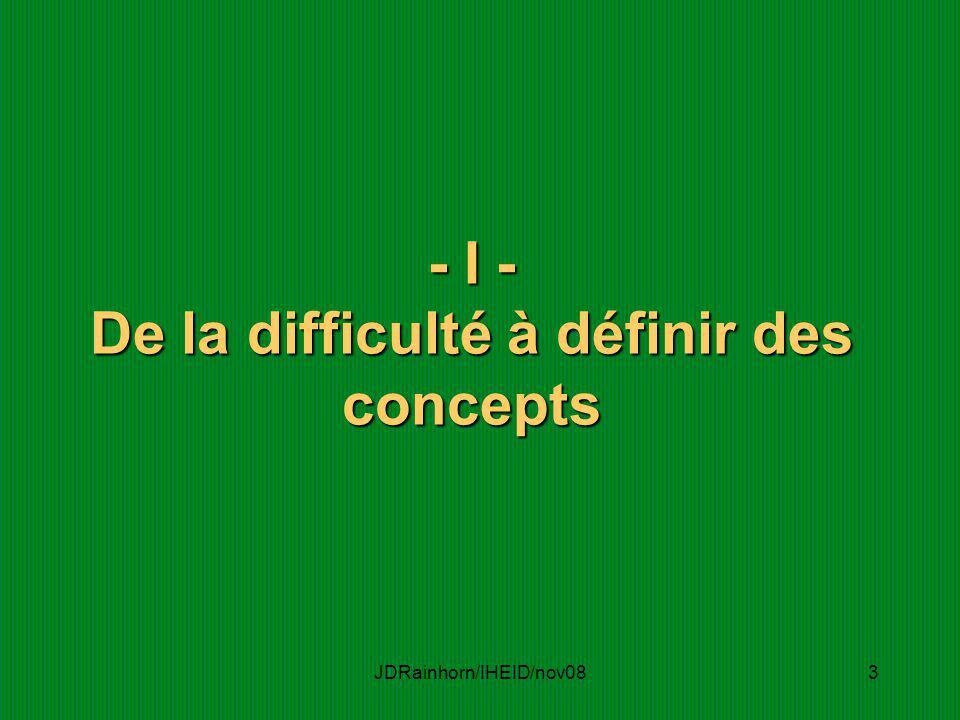 JDRainhorn/IHEID/nov083 - I - De la difficulté à définir des concepts