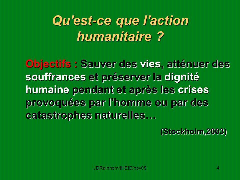 JDRainhorn/IHEID/nov084 Qu'est-ce que l'action humanitaire ? Objectifs : Sauver des vies, atténuer des souffrances et préserver la dignité humaine pen