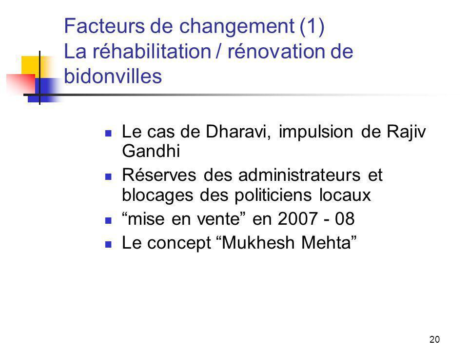 20 Facteurs de changement (1) La réhabilitation / rénovation de bidonvilles Le cas de Dharavi, impulsion de Rajiv Gandhi Réserves des administrateurs et blocages des politiciens locaux mise en vente en 2007 - 08 Le concept Mukhesh Mehta