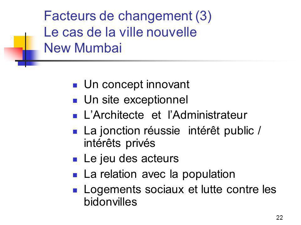 22 Facteurs de changement (3) Le cas de la ville nouvelle New Mumbai Un concept innovant Un site exceptionnel LArchitecte et lAdministrateur La joncti
