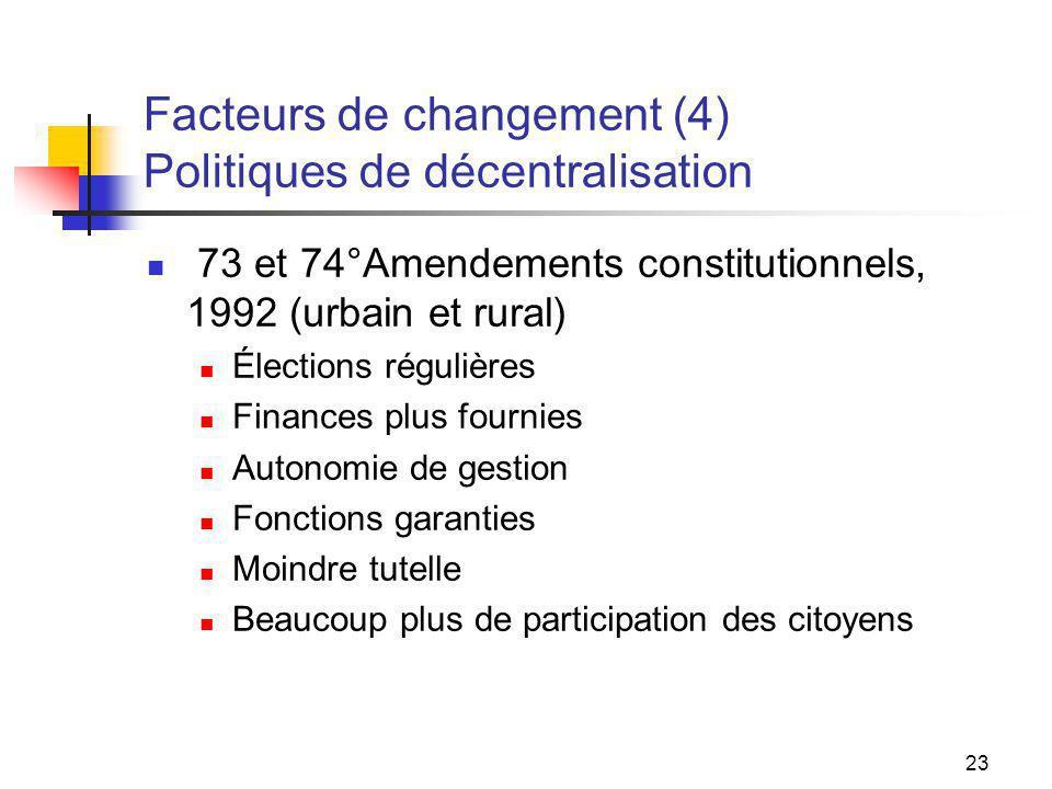 23 Facteurs de changement (4) Politiques de décentralisation 73 et 74°Amendements constitutionnels, 1992 (urbain et rural) Élections régulières Financ
