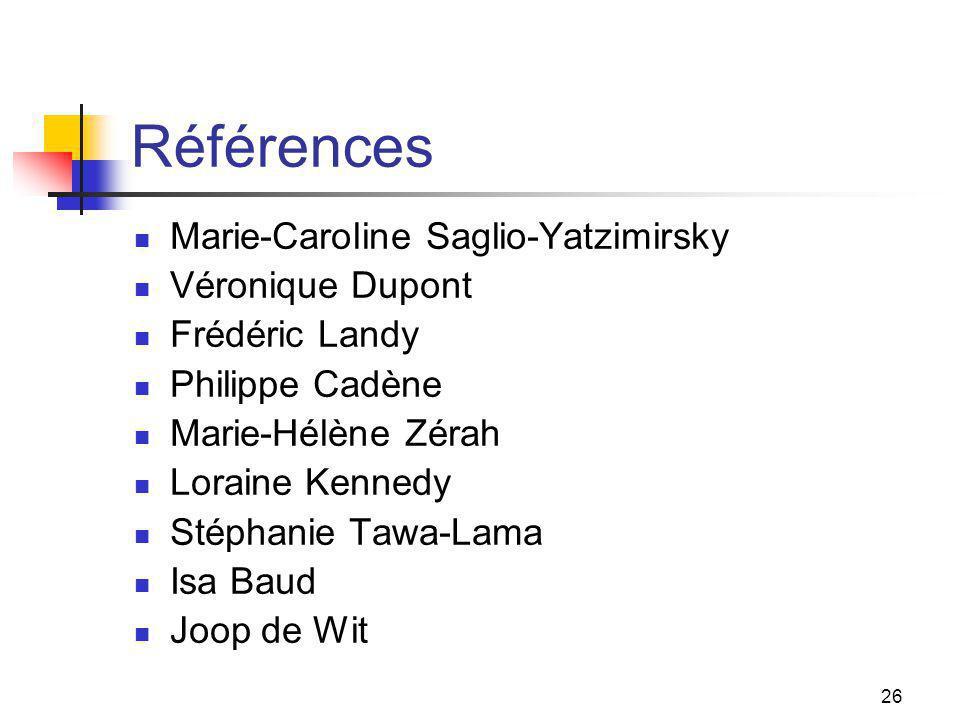 26 Références Marie-Caroline Saglio-Yatzimirsky Véronique Dupont Frédéric Landy Philippe Cadène Marie-Hélène Zérah Loraine Kennedy Stéphanie Tawa-Lama Isa Baud Joop de Wit