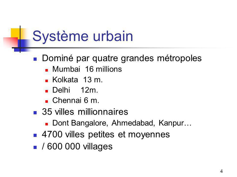 4 Système urbain Dominé par quatre grandes métropoles Mumbai 16 millions Kolkata 13 m.