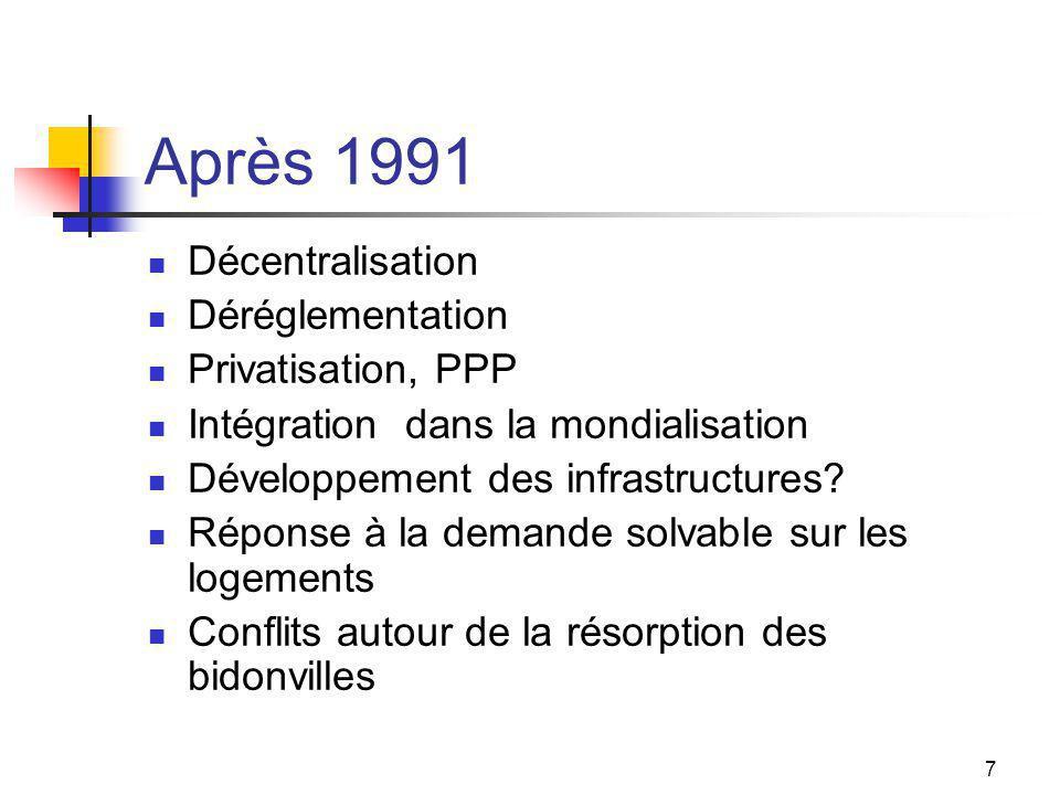 7 Après 1991 Décentralisation Déréglementation Privatisation, PPP Intégration dans la mondialisation Développement des infrastructures? Réponse à la d