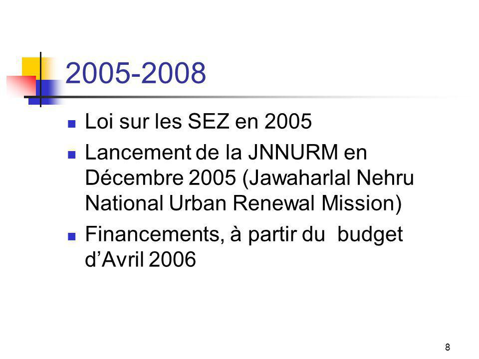 8 2005-2008 Loi sur les SEZ en 2005 Lancement de la JNNURM en Décembre 2005 (Jawaharlal Nehru National Urban Renewal Mission) Financements, à partir du budget dAvril 2006